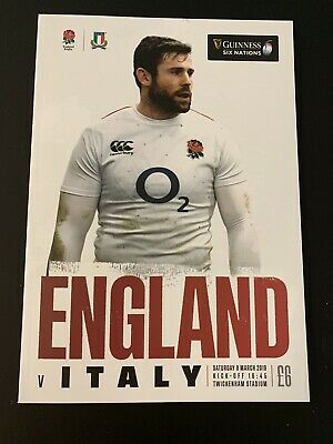 NEW GUINESS SIX NATIONS 2019 ENGLAND v ITALY Rugby Union Programme £6 09/03/19