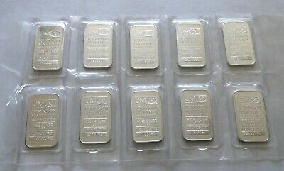 10 JOHNSON MATTHEY 1 OZ .999 Fine Silver Bars (Lot of 10 Sequential) SEALED