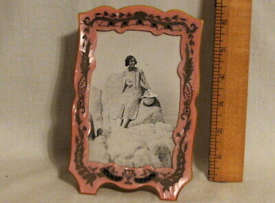Gorgeous Antique Carved & Painted Celluloid Vanity Picture Frame