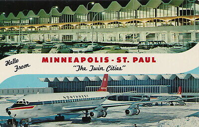 US MN Minneapolis St. Paul late 1960s Charles Lindbergh TERMINAL & NW AIRLINES!!
