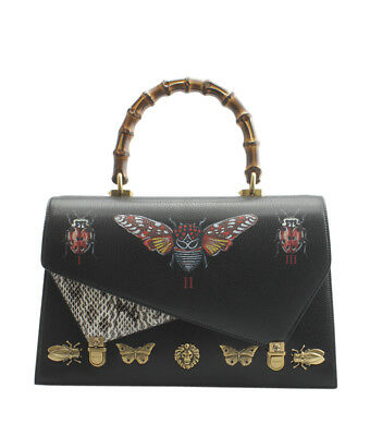 e7000a5dd713 Gucci 477631 Sylvie Large Black Leather Shoulder Bag.