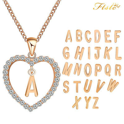 Rose Gold Love Heart Initial Letter Alphabet Charm Pendant Necklace 2018