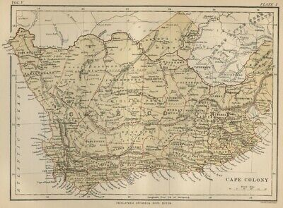 Cape Colony; South Africa: Authentic 1889 Map showing Cities; Topography