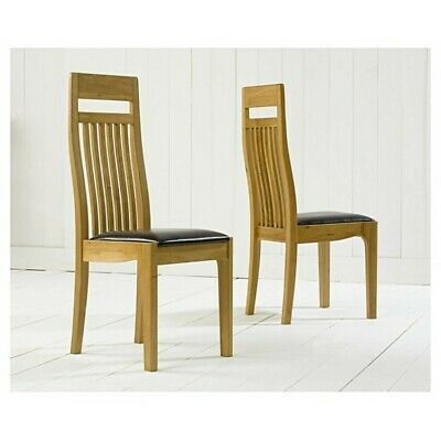 Monte Carlo Oak and Black Leather Dining Chair Pair