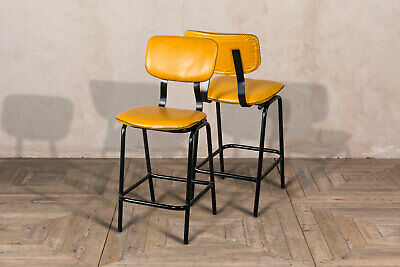 Pair Of Saffron Yellow Backed Bar Stool Upholstered In Cross Stitch Faux Leather