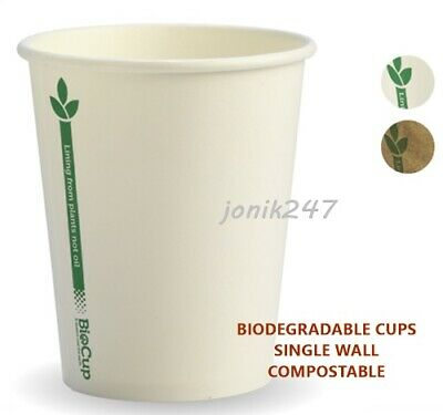 1000 BIODEGRADABLE single wall disposable paper coffee cups  8OZ 250ml