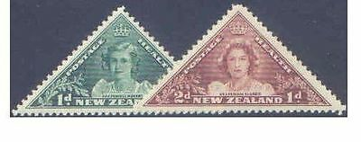 New Zealand 1943 HEALTH PRINCESSES TRIANGULARS (2) Unhinged Mint SG 636-7