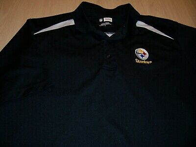 Nfl Team Apparel Pittsburgh Steelers Black Polo Shirt Mens Large Excellent Fan Apparel & Souvenirs