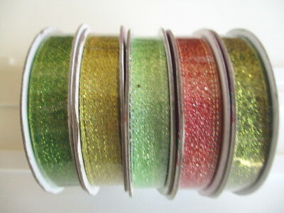 1 reel Dovecraft Christmas Metallic Ribbon - choice of colour - 10mm x 3m