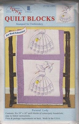"""1 Pk Jack Dempsey """"Parasol Lady"""" Stamped Embroidery Quilt Blocks"""