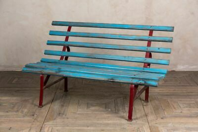 Vintage Garden Bench Painted Railway Bench Park Bench Blue And Red Patio Seating