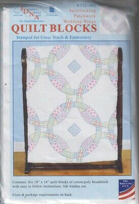 1 Jack Dempsey Patchwork Wedding Rings Stamped X-Stitch/Embroidery Quilt Blocks