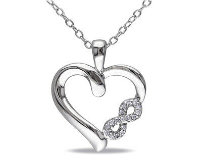 Accent Diamond Heart Pendant Necklace in Sterling Silver with Chain
