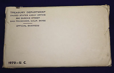 1970 U.S. Mint Set. Original Envelope OPENED. Coins are mint sealed.