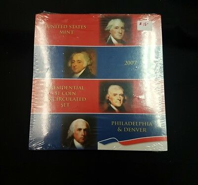 2007 US Mint Uncirculated 1 Dollar Presidential Coin Set sealed in plastic wrap