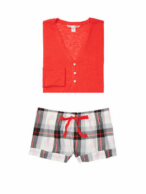 7f6557131cb New Victoria s Secret Henley Flannel Shorts Pajamas PJ Set Grey Plaid Red XS  S