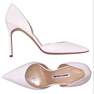 60914062ee2d MANOLO BLAHNIK BB white leather pointed toe high heel d Orsay Pumps Sz 38