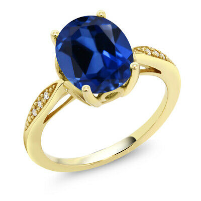 14K Yellow Gold 3.34 Ct Oval Blue Simulated Sapphire and Diamond Ring