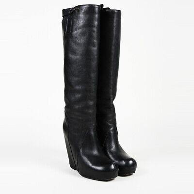 c5917e9abff8 RICK OWENS LEATHER Knee High Wedge Boots SZ 37 -  302.00