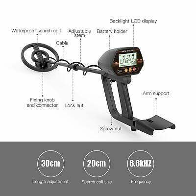 Metal Detector Adjustable Stem Waterproof Coil LCD Display Metal Finder