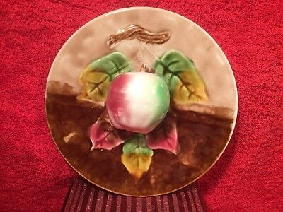 Wall Plate Apple Antique Majolica Palissy Pottery 3-D Plate c.1880-1910, fm1192