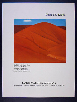 1981 Georgia O'Keeffe Red Hills with White Cloud painting vintage print Ad