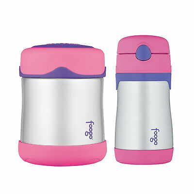 Thermos Foogo Vacuum Insulated S/S Food Jar and Straw Bottle - Pink/Purple