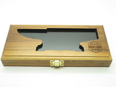 "Remer Stone Anvil Glass Top Wood Display Case For 10"" Buck Folding Fixed Knife"