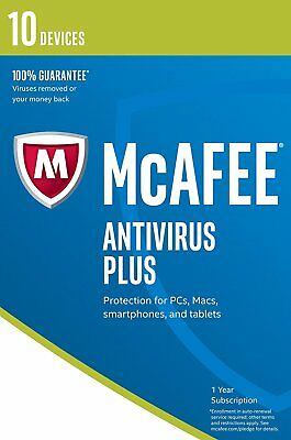 McAfee 2019 Anti-Virus Plus 1 Year 10 Users for PC/Mac OS/Android/iOS Emailed