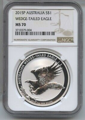 Australia 2015-P Wedge-Tailed Eagle NGC MS 70 Coin .999 Silver 1 oz Ounce BA275