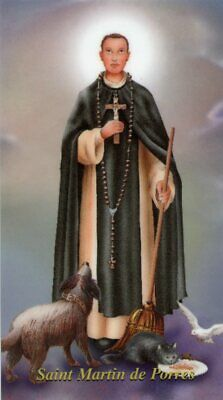 St. Martin De Porres - Relic Laminated Holy Card - Blessed by Pope Francis