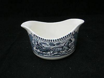 """Royal USA China CURRIER & IVES Gravy Boat """"Sleigh Ride"""" 2 Spout Large Print EC"""
