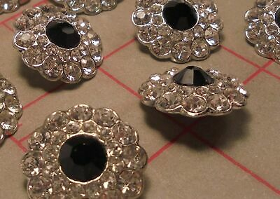 """2 Czech Rhinestone Shank Buttons Silver With Jet Black Faceted Glass Center 3/4"""""""
