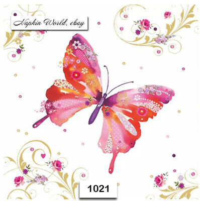 (1021) TWO Individual Paper Luncheon Decoupage Napkin - BUTTERFLY FLOWERS SPRING