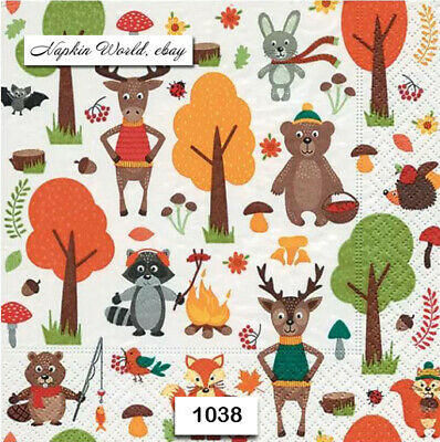 (1038) TWO Individual Paper Luncheon Decoupage Napkins - WOODLAND ANIMALS FOREST