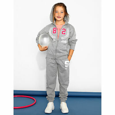 Girl tracksuit trousers with print on the leg - 331008