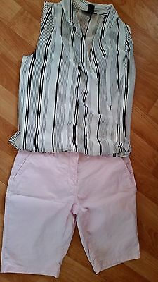 h&m sz 8 striped chiffon front top & country road pink shorts