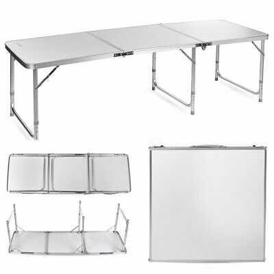 6ft Fold Away Plastic Table Heavy Duty BBQ Picnic Camping Table Outdoor Kitchen