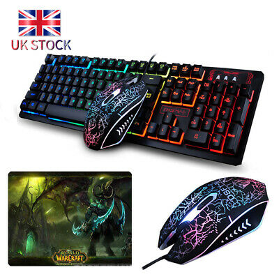 Wired LED Gaming Keyboard And Mouse Set Kit Illuminated Rainbow PS4 XBOX PC +Pad