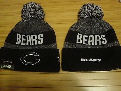 0836ab2699442b Chicago Bears New Era NFL Black Gray Sport Knit Pom Hat Adult Womens Mens