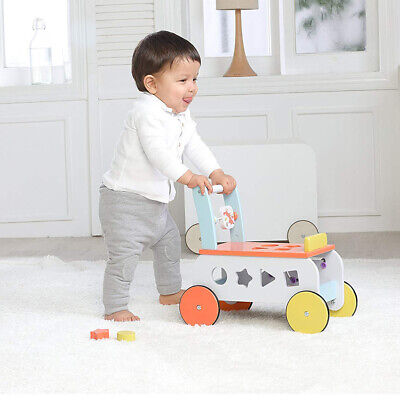 2 In 1 Baby Walker First Steps Activity Toys Car Push Along Riding On Wooden Car