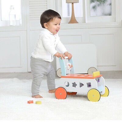 Infant First Steps Wooden Push Along Walker Baby Toy Mobility Learn Stand Riding