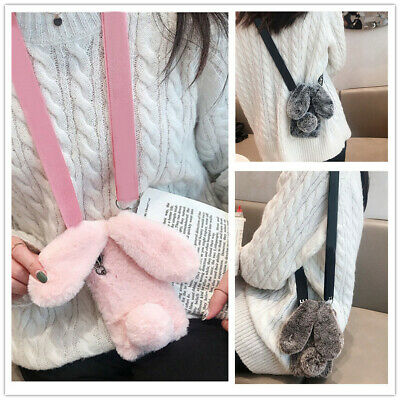 Cute Fluffy Rabbit Hair Fur Lovely Warm Bling Soft Phone Case Cover For Samsung