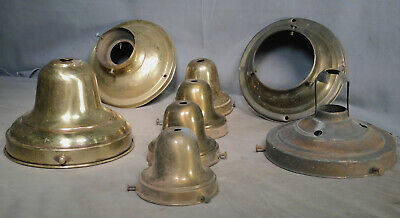 "8 Antique Brass Cup Shade Holders 3 ¼"" 6"" Schoolhouse Globe Chandelier Fixture"