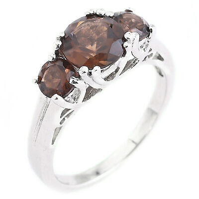 Natural 7Mm Smoky Quartz 3-Stone Design Genuine Gemstone Silver 925 Ring Size 8