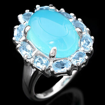 100% Natural 14X10Mm Blue Chalcedony & Sky Blue Topaz Silver 925 Ring Size 7