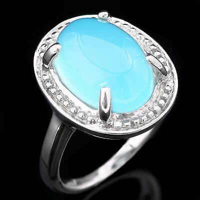 100% Natural 14X10Mm Blue Chalcedony Genuine Gem Sterling Silver 925 Ring Size 7