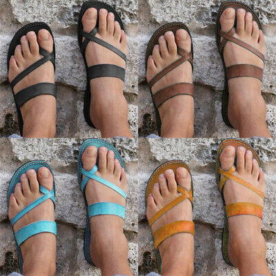 Womens Summer T-strap Beach Flat Flip Flops Slippers Ladies Casual Shoes Size6-8