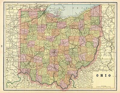 1900 Antique OHIO State Map of OHIO Gallery Wall Art Vintage Ohio Map 6468