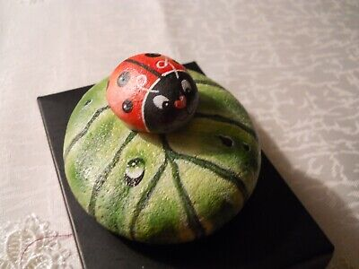Ladybug Insect leaf Rock Art Collectable